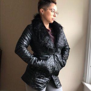 NWT Faux fur puffer fashion jacket